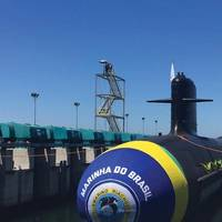 Riachuelo submarine during launching. Image Marinha do Brasil