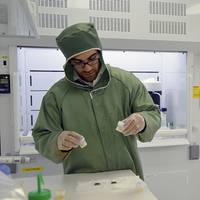 Adam Sarafian, lead author of the paper and a MIT/WHOI Joint Program student in the WHOI Geology and Geophysics Department, preps samples in Sune Nielsen's NIRVANA clean lab to remove all contamination from the surface prior to analysis. (Photo by Jayne Doucette, WHOI)
