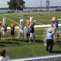 Administrators and staff at the SUNY Maritime College took the Ice Bucket Challenge and raised more than $1,250 for the ALS Foundation.