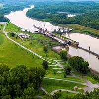 Aerial view of the Jerry F. Costello Lock & Dam on the Kaskaskia River. CREDIT: St. Louis Freightway