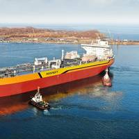 Aframax tanker Vladimir Monomakh is the first vessel to be built at Russia's new Zvezda Shipbuilding Complex (Photo: Rosneft)