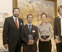 After the presentation of the Awards, (from left to right), Torsten Schramm, Chief Operating Officer of GL, and the prize winners Edward Sciberras, Katja Hartig, and Fabian Tillig.