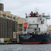 Algoma Harvester loading 30,007.542 metric tons of wheat at Riverland Ag/Duluth Storage on July 7, 2016 – a Twin Ports record for the largest load of grain. (Photo: Capt. Tom Mackay, Duluth)