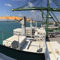 Alongside in the Port of Mariel, Cuba – view from the bridge of the 2,556 TEU E.R. Cape Town (Photo: Maersk Line)