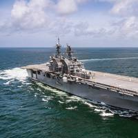 Amphibious assault ship USS Tripoli (LHA 7) transits the Gulf of Mexico during builder's trials in July 2019. (U.S. Navy photo courtesy of HII by Derek Fountain)