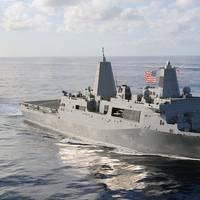 Amphibious transport dock ship USS San Antonio (LPD 17) (U.S. Navy photo by Jason R. Zalasky)