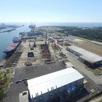 An aerial overview of VT Halter's sprawling Gulf Coast shipbuilding operations. (CREDIT: VT Halter)