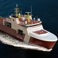 An artist rendering shows the potential design for the Canadian Coast Guard's two Arctic and Offshore Patrol Ships that will be built at Halifax Shipyard.