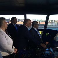 Ana Paula Vitorino, Portugal's Minister of Sea & Cmdt. Rui Cunha, APDL Port Operations and Security Director, testing the Full Mission Bridge simulator  (Photo: Wärtsilä)