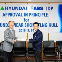 Andre Han, Vice President, Business Development in the ABS Pacific, Korea and Northern Region (left), presents Yun-Sik Lee, Executive Vice President, Shipbuilding Division at HHI, with a certificate acknowledging Approval i