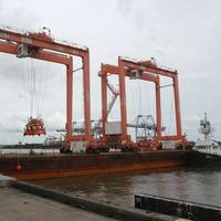 APM Terminals Mobile took delivery August 26, 2021 of two rubber tire gantry cranes to support growth at the port's intermodal container transfer facility. (Photo: Port of Mobile)