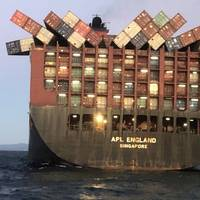 Singapore-flagged APL England dropped dozens of containers off the coast of Australia. Several stacks can be see toppled over on deck.(Photo: AMSA)