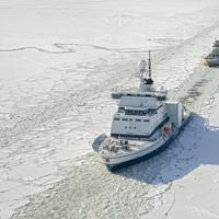 Arctia's converted polar icebreaker Otso assisting a vessel in the Bothnian Bay in March 2018 (Credit: Flying Focus and Arctia Ltd.)