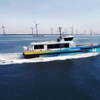 Artist's impression of the HydroCat, a hydrogen CTV jointly developed by CMB and Windcat Workboats (Photo: CMB)
