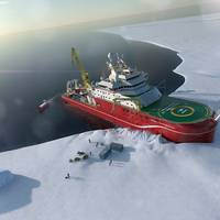 Artist's impression of the RRS Sir David Attenborough unloading supplies in Antarctica. Copyright Rolls Royce.