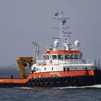 At Damen Shipyards Hardinxveld, a new model in the Damen Shoalbuster range -- the ultra-shallow Shoalbuster 3514 SD -- was christened Brutus by Mrs Mandy Heere-van Eijk, on behalf of tug and workboat company, Herman Sr. Photo courtesy Damen