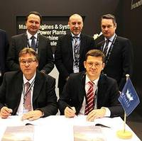 At the signing at Europort - front left to right: Dr. Thomas Spindler, Head of Upgrades & Retrofits, MAN PrimeServ Four-Stroke; and Christian Hoepfner, Wessels Reederei GM; and back left to right: Marcel Lodder, Project Engineer, Upgrade & Retrofit, MAN PrimeServ; Stefan Eefting, Vice President, MAN PrimeServ; Rainer Runde, Project Manager, Wessels Reederei; and Gerd Wessels, Managing Partner – Wessels Reederei