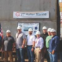 Attending the keel laying ceremony are representatives from the American Bureau of Shipping, SupShips Gulf Coast and VT Halter Marine.