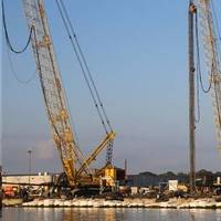 Augers drill 110-foot long holes to house concrete piles as part of the launch way  upgrade project at Halter Marine. (Photo: Halter Marine)
