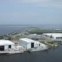 Austal USA's sprawling complex in Mobile, Alabama. JHSV 1 is the vessel on the right. (Photo: Austal)