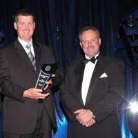 Austal's Richard Williams (center) accepts AMTIL's Advanced Manufacturer of the Year award from Major Sponsor Deloitte's Tom Imbesi (left) and AMTIL CEO Shane Infanti.