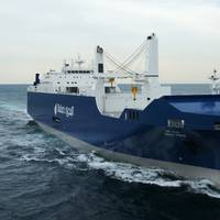 Bahri's new state-of-the-art 26,000 DWT RoCon vessel, designed to simultaneously accommodate Project, Roll-on/Roll-off, Break-bulk and Container Cargo, arrived at the Port of New Orleans late August marking the first time a roll-on/roll-off cargo ship called Port NOLA since 2005. (Credit: Bahri)