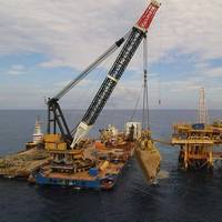 BAY OF CAMPECHE, Mexico (Nov. 15, 2016)- Ardent concluded the industry's largest wreck removal project in the Gulf of Mexico in 2016. (Photo: Ardent)