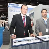 Boran Bekbulat (l), Damen Sales Middle East, and Khaled A. Bin Nowiran (r), Managing Director BINCO (Photo: Damen)