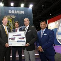 Bram Langeveld, Sales Director Middle East, Damen Shipyards Gorinchem; René H. Berkvens, Chief Executive Officer, Damen Shipyards Group; Pascal Slingerland, Sales Manager Middle East, Damen Shipyards Gorinchem; Mazin Yousif, Managing Director, Jawar Al Khaleej Shipping L.L.C.; Mr. Lionel Ferreira, Commercial & Chartering Manager, Jawar Al Khaleej Shipping L.L.C.
