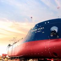 Built by Keppel O&M, Singapore's first dual-fuel bunker tanker will deliver marine fuels to ocean-going vessels within Singapore port limits. (Photo: Keppel Offshore & Marine)  (Photo: Keppel  Offshore & Marine)