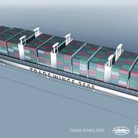 Bureau Veritas has granted an  Approval in Principle (AIP) for Trade Wings 2,500, a design for a 197 x 32 m, 2500-TEU container ship designed jointly by VPLP Design, Alwena Shipping, SDARI, and AYRO. Image courtesy BV