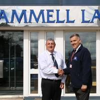 Cammell Laird's HSEQ director Tony Potter welcomes the company's new quality assurance manager Gordon Maxwell (Photo copyright: Cammell Laird)