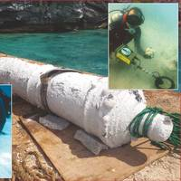 Cannon recovered from the Warwick, Bottom inset – diver searches wreck site with the Pulse 8X's deep seeking 16 inch coil, Top inset – James Davidson with Pulse 8X and recovered cannon ball.