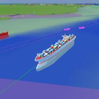 Cargo ship entering Southampton.