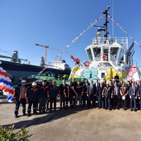 Ceremonial launch of Sanmar's Bogaçay38 tug (Photo: Caterpillar Marine)