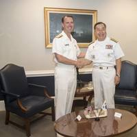Chief of Naval Operations (CNO) Adm. John Richardson met with his South Korean (ROK) counterpart, Adm. Jung Ho-sub at the Pentagon for a discussion focused on the strengthening partnerships and ways to work together to increase maritime security throughout the Indo-Asia Pacific. (U.S. Navy photo by Elliott Fabrizio)