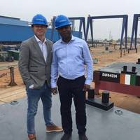Client with Damen Sales Manager at the shipyard Photo Damen