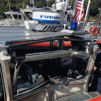 Close up view of the damage of a 29-foot response boat small after it collided with another 29-foot response boat during training off Falmouth, Mass., Wednesday, Sept. 5, 2018. (U.S. Coast Guard photo)