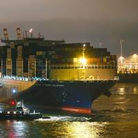 CMA CGM Antoine de Saint Exupery made its maiden call at the Port of Hamburg on Thursday morning, March 15 (© HHM / Dietmar Hasenpuscch)