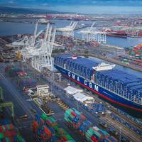 CMA CGM Benjamin Franklin calls the Port of Long Beach in February (Photo: Port of Long Beach)