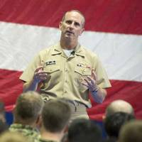 CNO Adm. Greenert holds an all-hands call with service members, civilians and their families at Naval Support Activity Bahrain where he discussed the current status of the Navy and presented U.S. Naval Forces Central Command with the Navy Unit Commendation for meritorious service in the performance of assigned missions from June 2010 to June 2015. (US Navy photo by Nathan Laird)