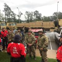 Coast Guard crews discuss tactics prior to conducting rescue operations in response to Hurricane Florence in North Carolina, Sunday, Sept. 16, 2018. The Coast Guard is working with state and local agencies throughout the affected region. Image: USCG)
