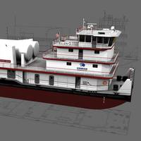 Concept art for the Shearer Group and Conrad Shipyard's LNG powered towboat