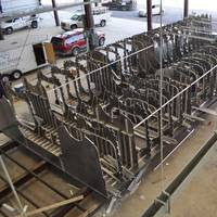 Construction has commenced on the first new Metal Shark 75' Endurance-class catamaran at the company's new shipyard in Franklin, Louisiana. (Photo courtesy of Metal Shark)
