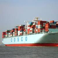 Container ship Cosco Italy on the river Elbe with destination port Hamburg, 2014  (Copyright: Buonasera)