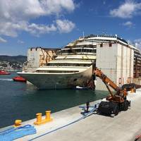 Costa Concordia moored Genoa: Photo courtesy of TITAN Salvage