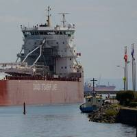 CSL Group's Trillium Class vessel Thunder Bay, pictured here in Port Colborne, Ontario, regularly travels through the St. Lawrence Seaway to Great Lakes ports. (Photo: Thies Bognor; Supplied by CSL Group)