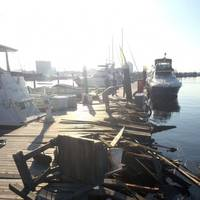 Damage sustained to the pier after the passenger vessel Spirit of Baltimore allided with the pier Sunday, Aug. 28, 2016. (U.S Coast Guard photo by Tom Davan)