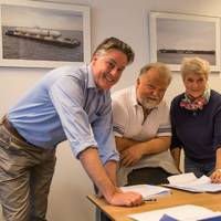 Damen Sales Manager Norway Remko Hottentot, with Torgeir Vareberg and Lisa Chaparian of Skyssbåtservice on the occasion of the contract signing for a Damen Stan Pontoon 4512.   (Photo: Damen)