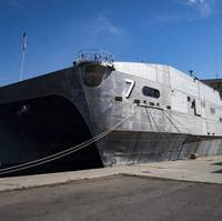 Spearhead-class expeditionary fast transport ship USNS Carson City (T-EPF 7) pier side in Constanta, Romania, in August 2018. (U.S. Navy photo by Kyle Steckler)